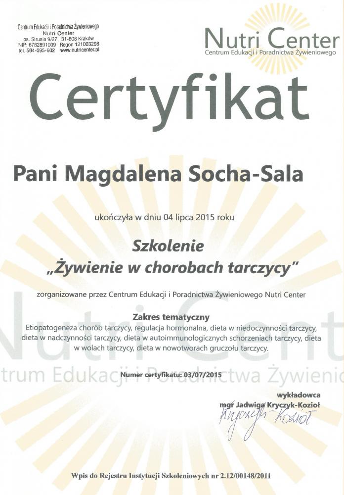 Dyplom ukończenia szkolenia: Diety w chorobach tarczycy