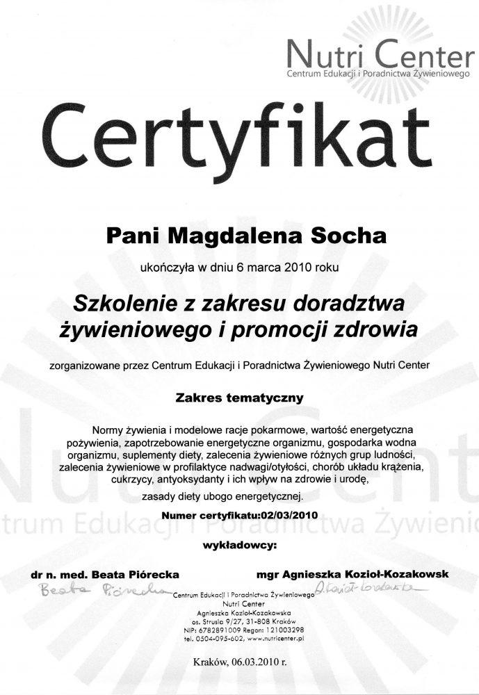 Dyplom ukończenia szkolenia: Doradztwo żywieniowe i promocja zdrowia