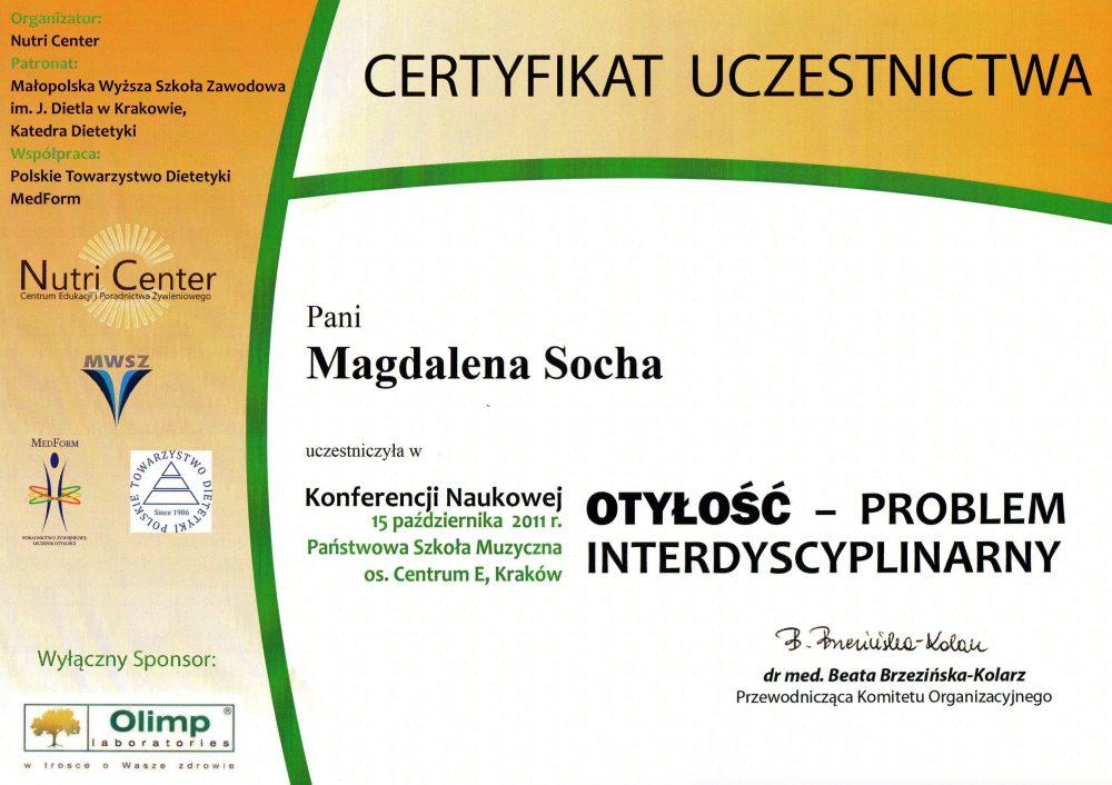 Certyfikat uczestnictwa w konferencji szkoleniowej: Otyłość- problem interdyscyplinarny