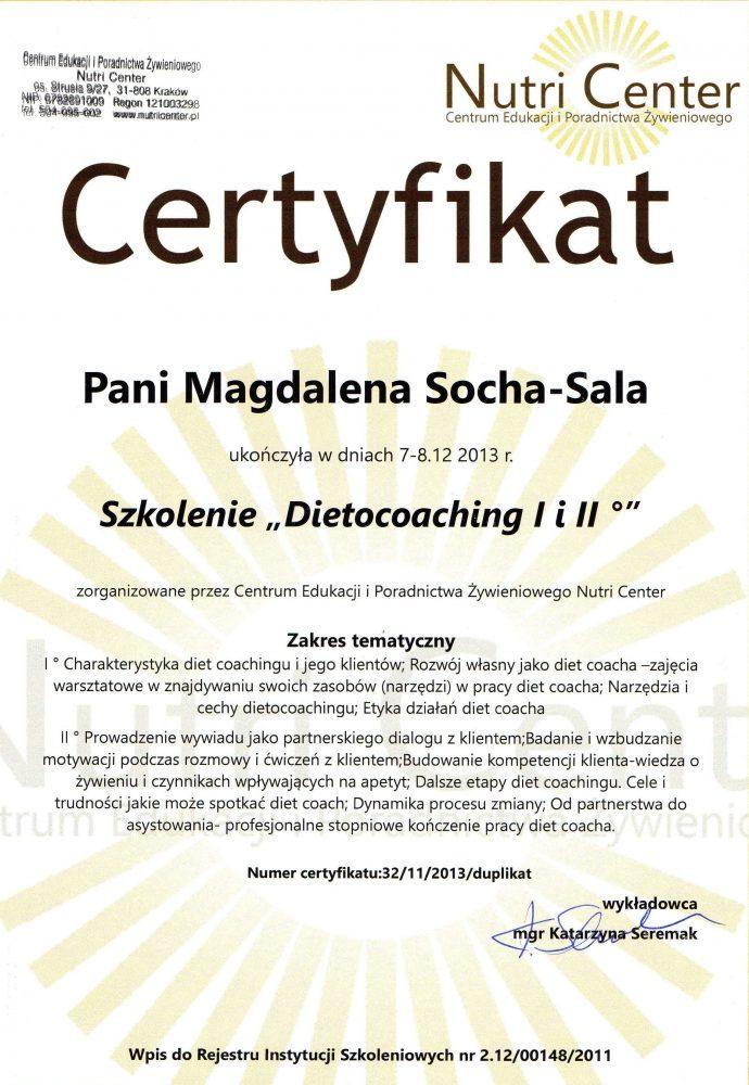 Dyplom ukończenia szkolenia: Dietocoaching I i II stopnia