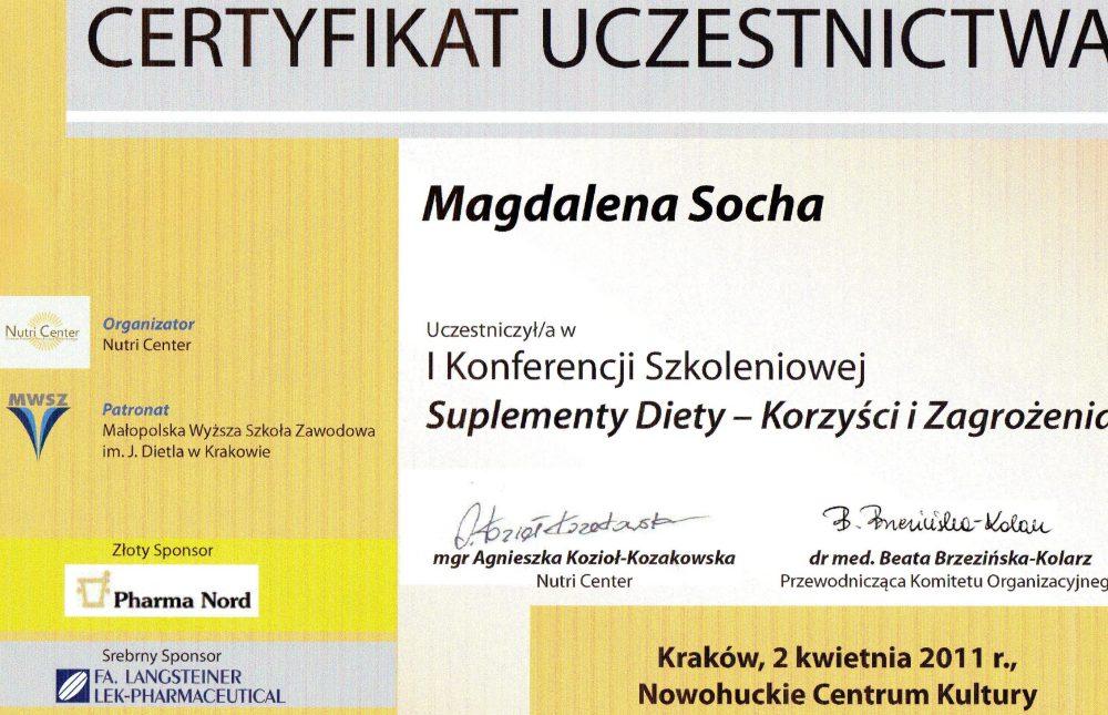 Certyfikat uczestnictwa w konferencji szkoleniowej: Suplementy diety -korzyści i zagrożenia