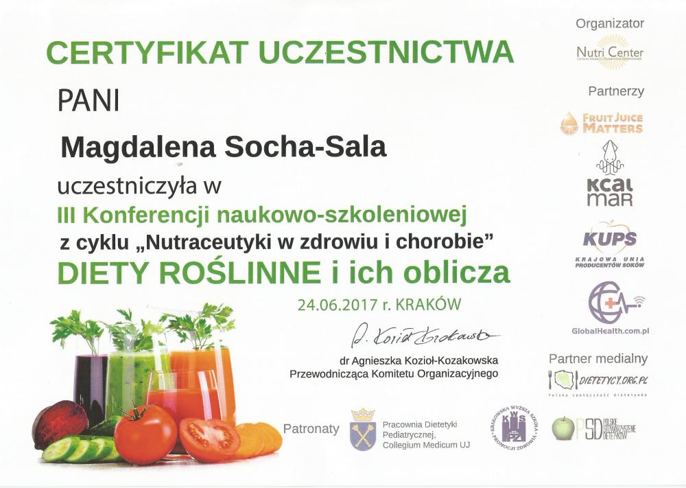 Certyfikat uczestnictwa w konferencji szkoleniowej: Diety roślinne i ich oblicza