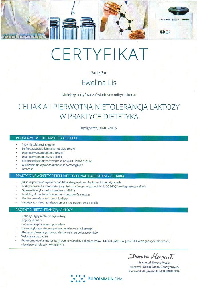 Certyfikat ukończenia szkolenia: Celiaklia i pierwotna nietolerancja laktozy w praktyce dietetyka