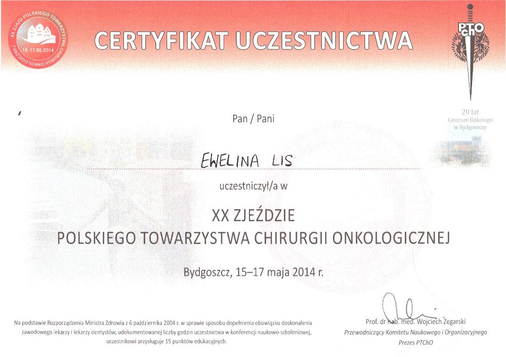 Certyfikat uczestnictwa w XX Zjeździe Polskiego Towarzystwa Chirurgii Onkologicznej