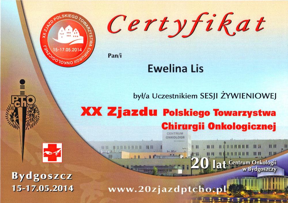 Certyfikat uczestnictwa w Sesji Żywieniowej podczas XX Zjazdu Polskiego Towarzystwa Chirurgii Onkologicznej