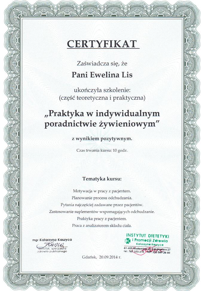 Certyfikat ukończenia szkolenia: Praktyka w indywidualnym poradnictwie żywieniowym