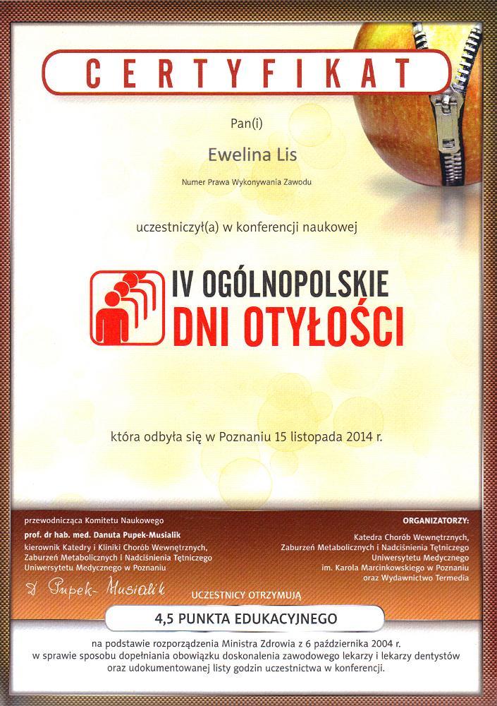 Certyfikat uczestnictwa w konferencji naukowej: IV Ogólnopolskie Dni Otyłości
