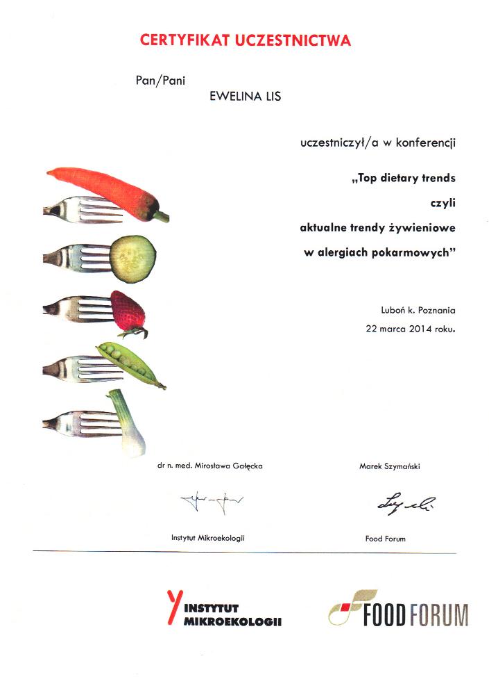 Certyfikat uczestnictwa w szkoleniu: Top dietary trends czyli aktualne trendy żywieniowe w alergiach pokarmowych