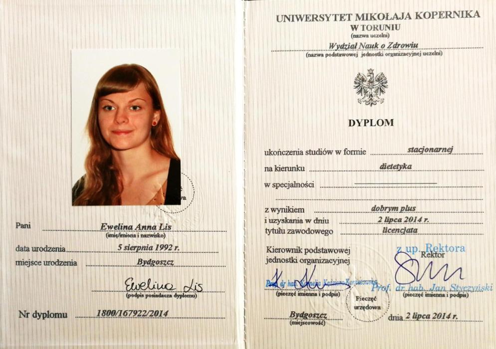 Dyplom ukończenia studiów licencjackich - kierunek: Dietetyka