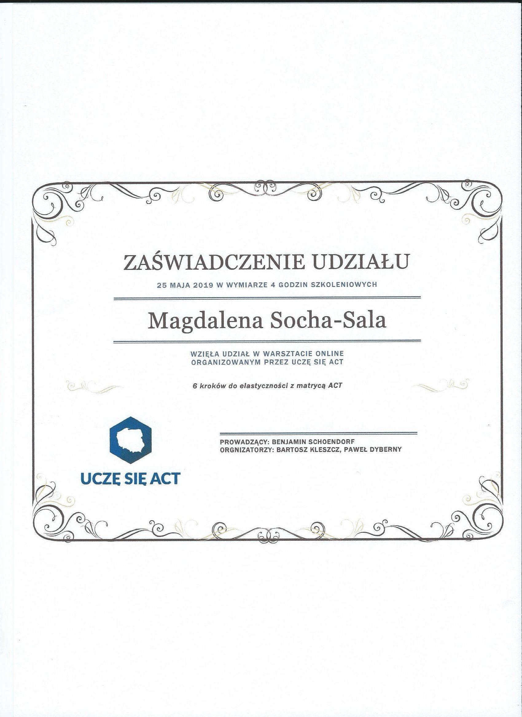 Zaświadczenie odbycia warsztatów z ACT
